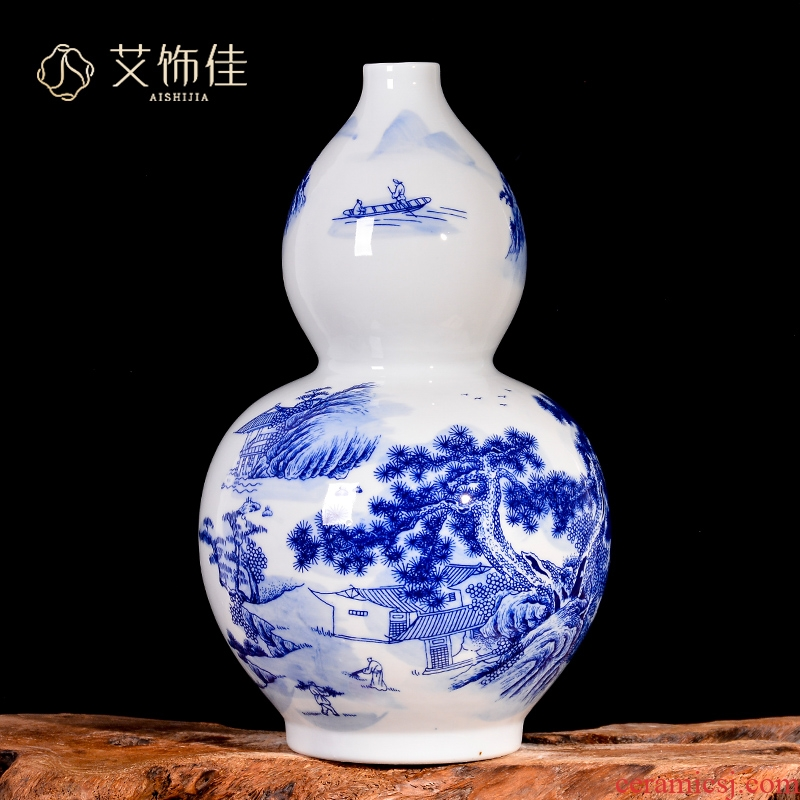 Blue and white landscape of jingdezhen ceramics antique vase household of Chinese style living room porch TV ark adornment furnishing articles