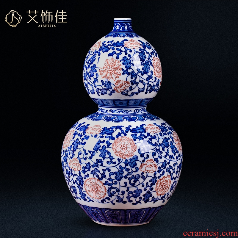 Jingdezhen ceramic vase bound branch lotus youligong archaize home sitting room porch of blue and white porcelain decorative furnishing articles