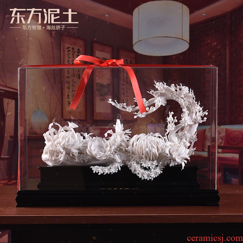 Oriental soil dehua hand knead ceramic flower art business opening furnishing articles four seasons of flowers/D13-114