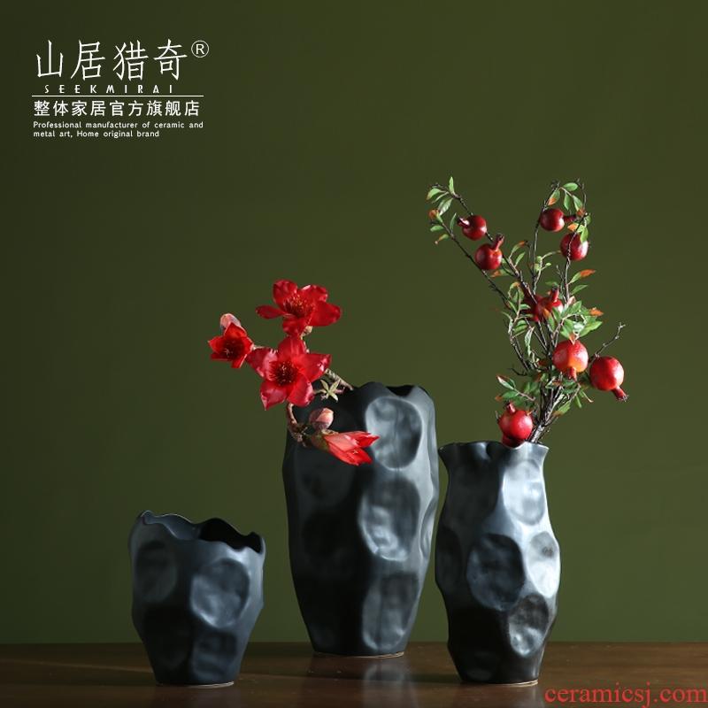 New Chinese style household adornment big vase model profiled living room dry flower flower arranging flower implement black ceramic vase