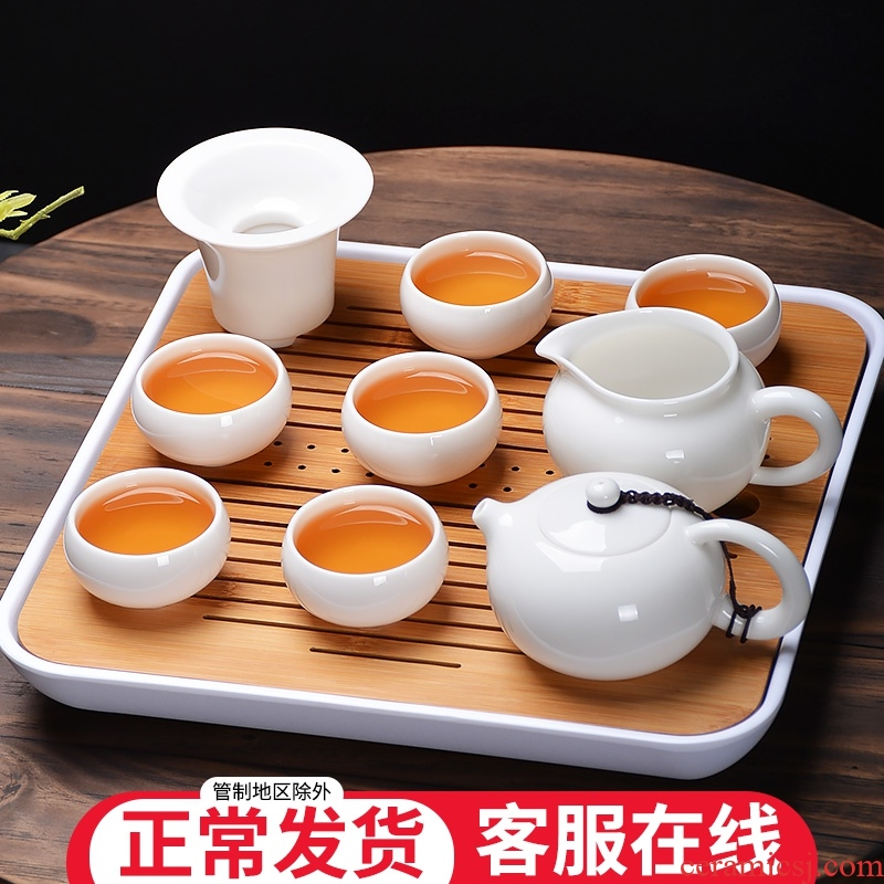 Dehua white porcelain tea set gift informs the jade porcelain teapot contracted kung fu of a complete set of tea cups 6 pack
