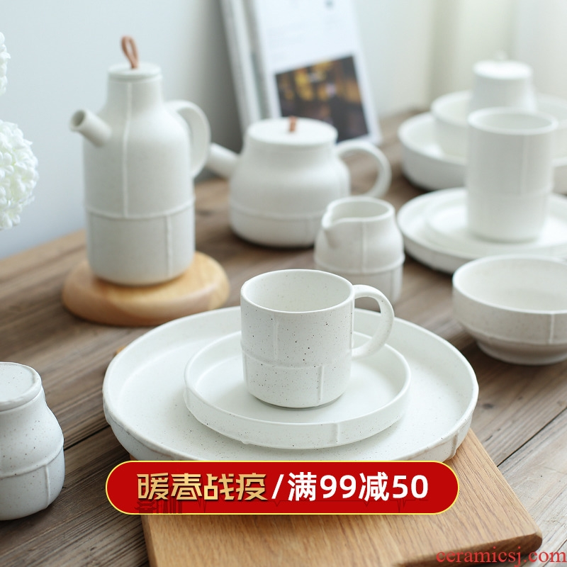 Island house stranger ran in the Nordic retro white ceramic tableware flat dish dish of rice bowls coffee cup PZ - 156