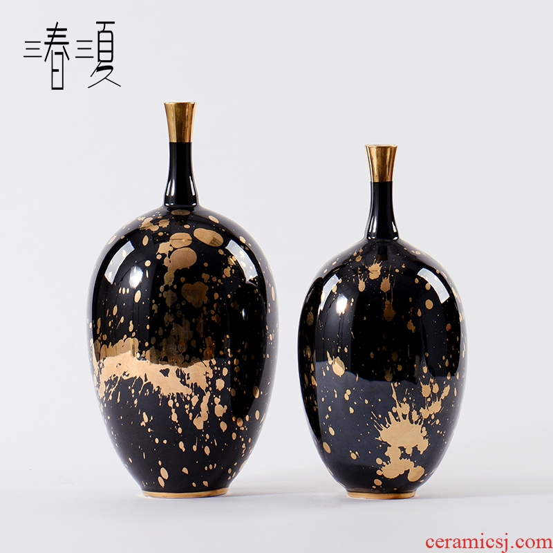 New Chinese style in modern light key-2 luxury black ink pen grain ceramic furnishing articles porch tea table edge ark, European fine expressions using the vase