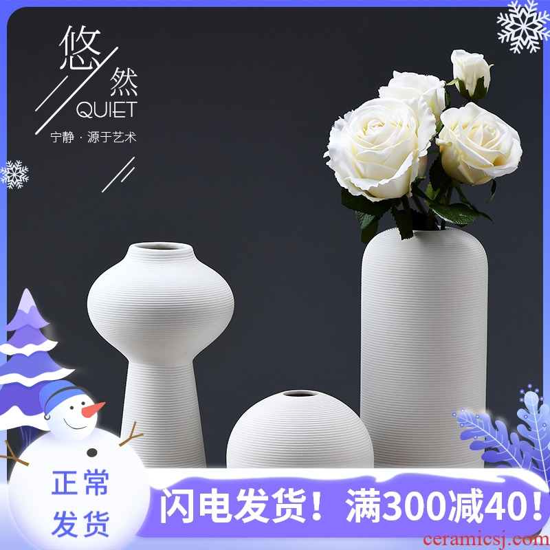 Painting cubic Chinese dry flower vases, ceramic furnishing articles creative decorations sitting room porch Japanese zen three - piece suit