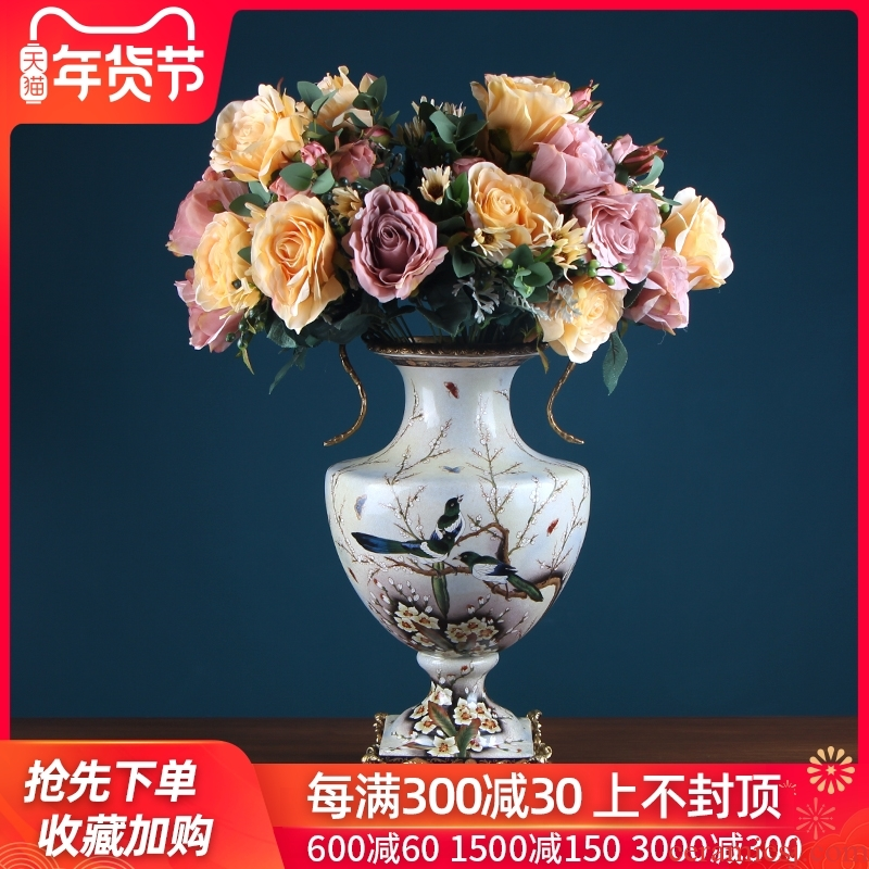 European ceramic vases, flower arranging flower implement creative furnishing articles sitting room the mock up room decoration American household soft adornment