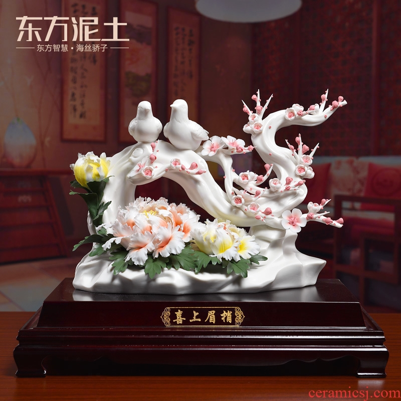 Oriental soil high - grade beaming ceramic flower its art of Chinese style wedding gift sitting room adornment is placed