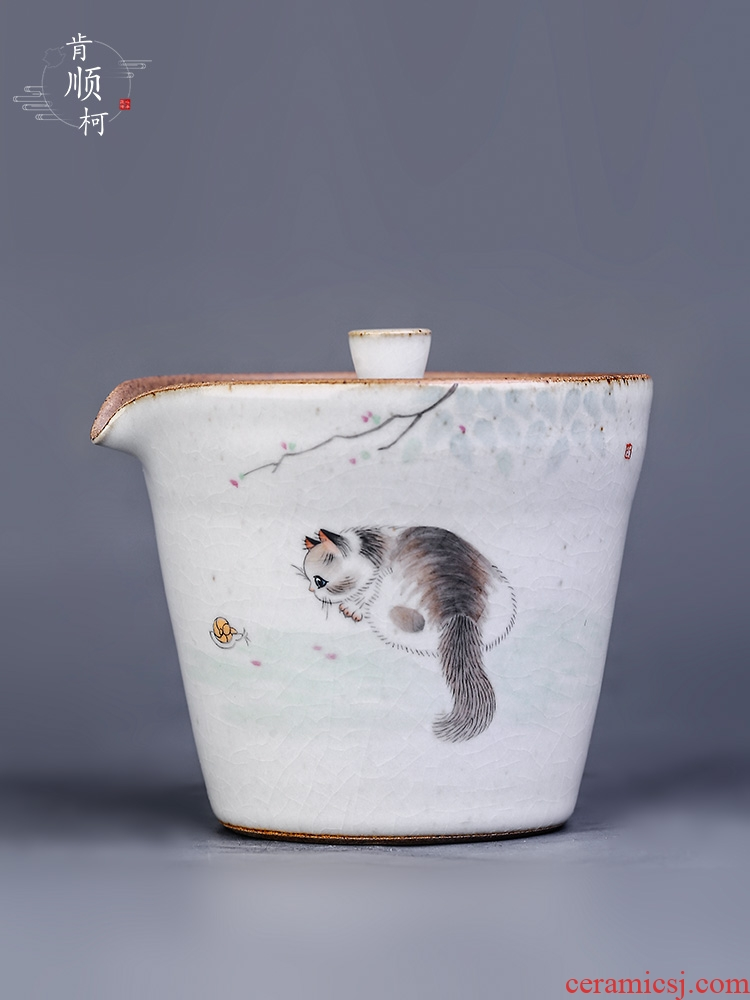 Your up hand grasp lid bowl prevent hot ceramic teapot single pot of pure manual hand - made the cat kungfu tea, tea sets