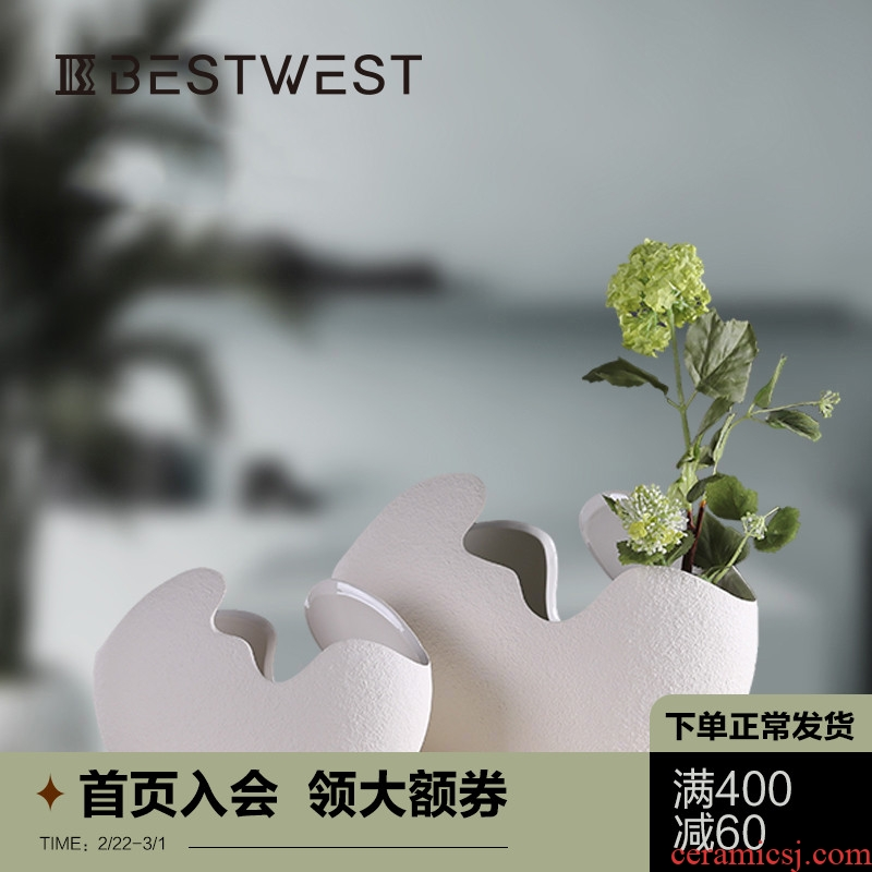 North European I and contracted copper grass floret bottle ceramic creative craft gifts home furnishing articles shell