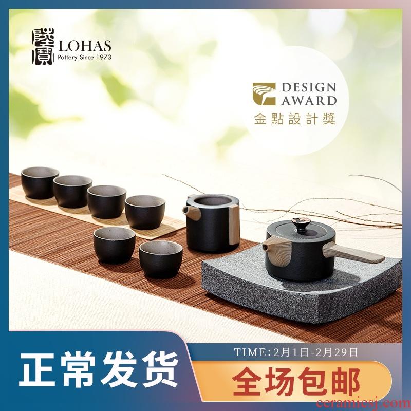Lupao set of ceramic tea set side put pot of embroidery ruyi tea taking a pot of a sea of six cups of kungfu tea set gift box