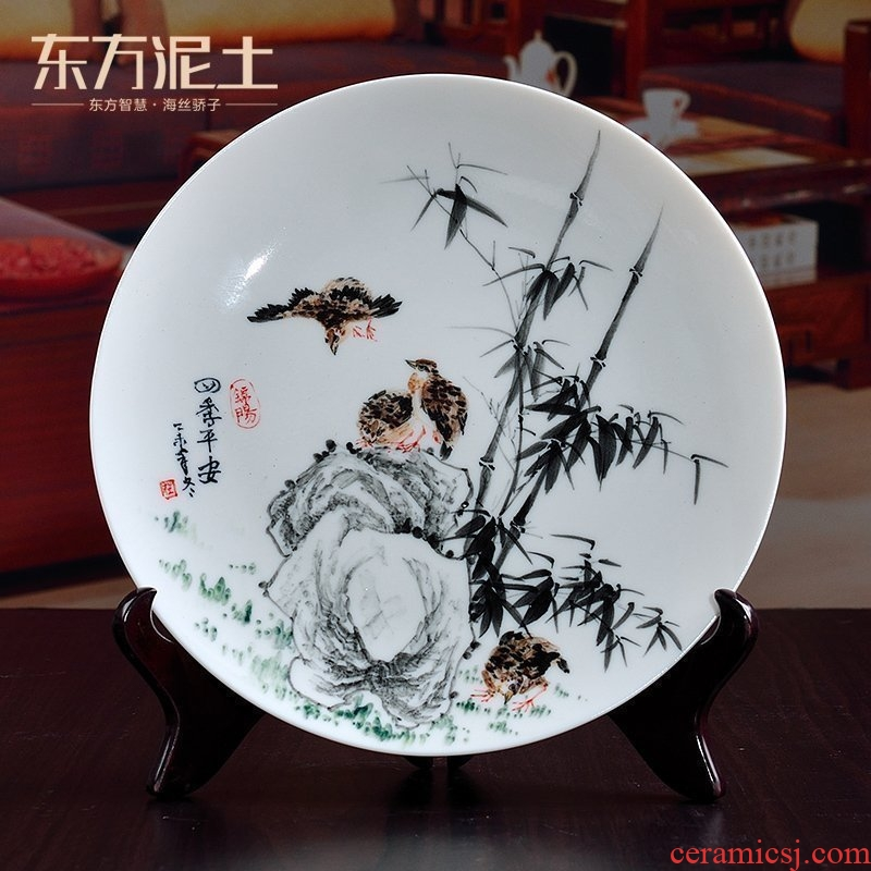 East mud creative ceramic decorative porcelain child Chinese hand - made art craft hang dish dish by dish furnishing articles