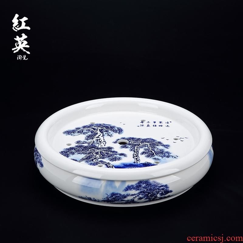 Hongying ceramics jingdezhen porcelain circular kung fu tea set double ground water tea tray was home plate
