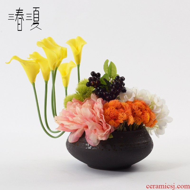 New Chinese style ceramic vases, flower arrangement table simulation flower miniascape of soft furnishing articles example room sitting room hotel decoration