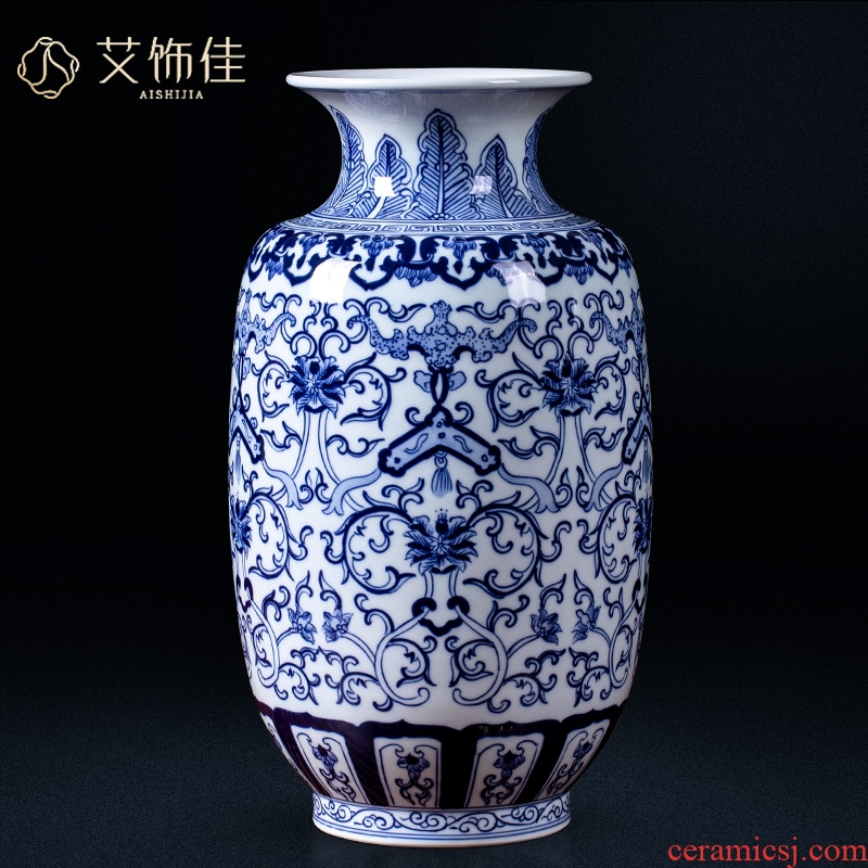 Jingdezhen ceramic blue ferro, flower arranging, the sitting room porch place vase household wine collection gifts crafts