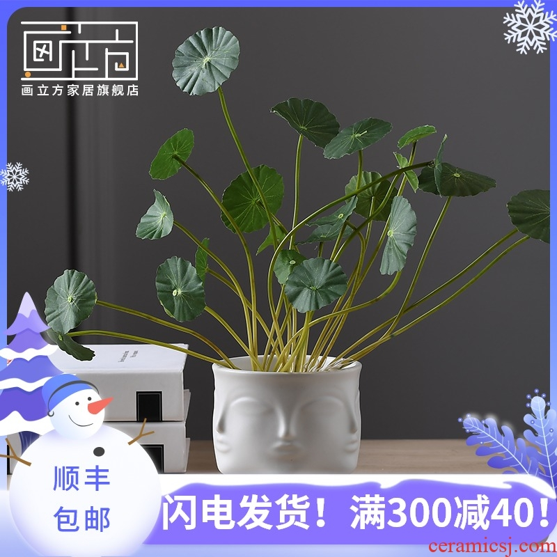 Light painting cubic Nordic face much ceramic vases, flower arranging furnishing articles contracted sitting room table soft adornment ornament