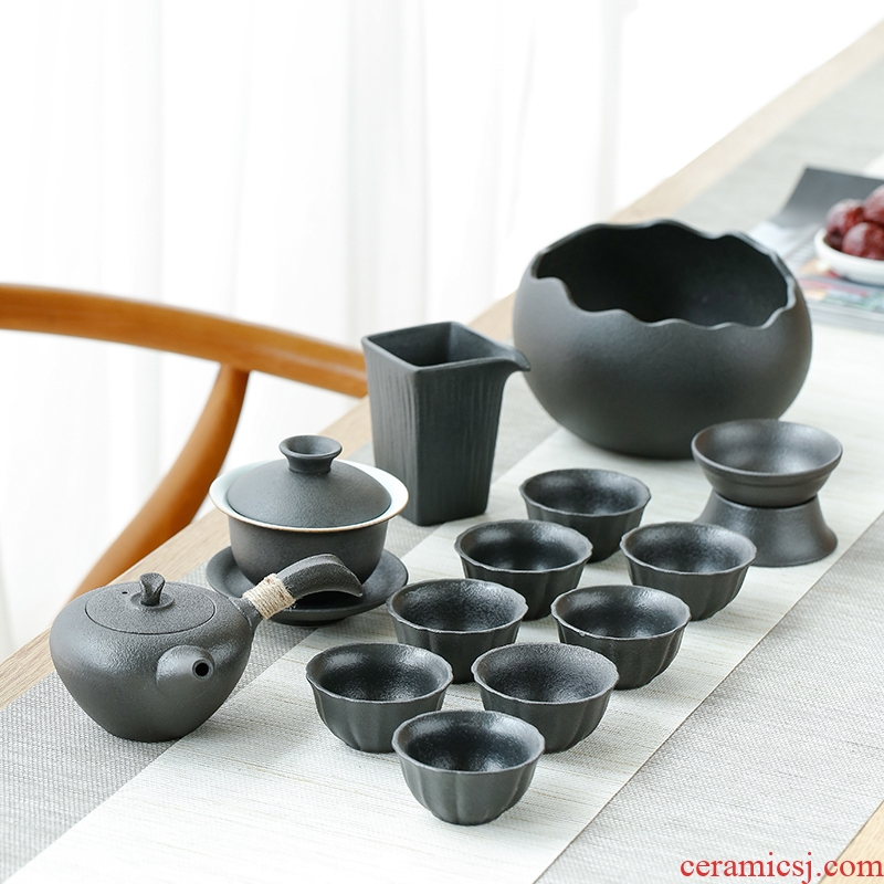 Kung fu tea sets tea cups of household contracted Japanese black ceramic teapot tea tureen of a complete set of modern office