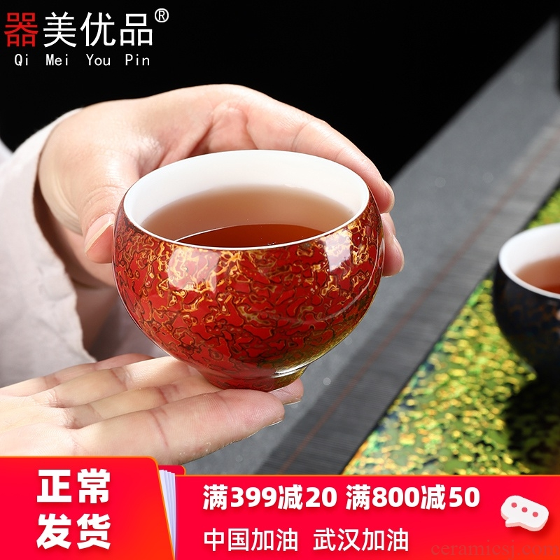 Implement the superior natural lacquer tea zen kung fu tea cup of pure manual Chinese lacquer porcelain cup single cup Chinese master