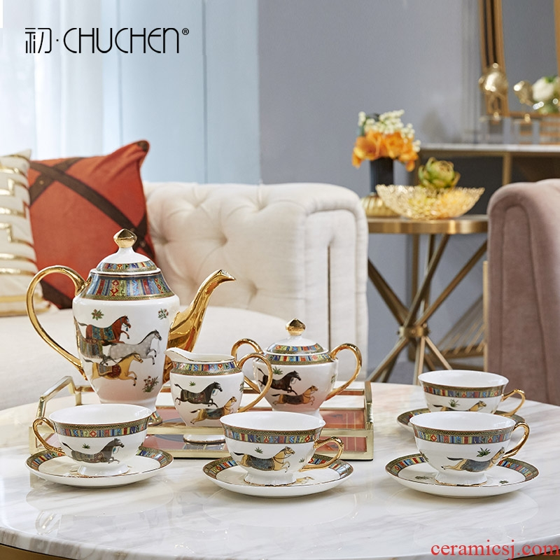Light European - style key-2 luxury ceramic tea set furnishing articles contracted creative household gift teapot teacup version into living room