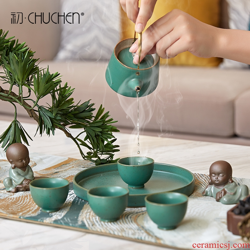New Chinese style tea set ceramic tea tray was modern household teapot tea tea cup office indoor soft adornment