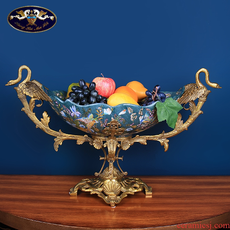Europe type restoring ancient ways is the swan fruit bowl sitting room ceramics with copper household act the role ofing is tasted tea table table decoration key-2 luxury furnishing articles