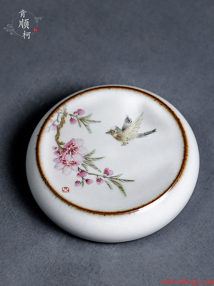 Peach blossom put lid the jingdezhen Xu Jiaxing hand - made water point cover open the slice your up ceramic cup mat tea accessories