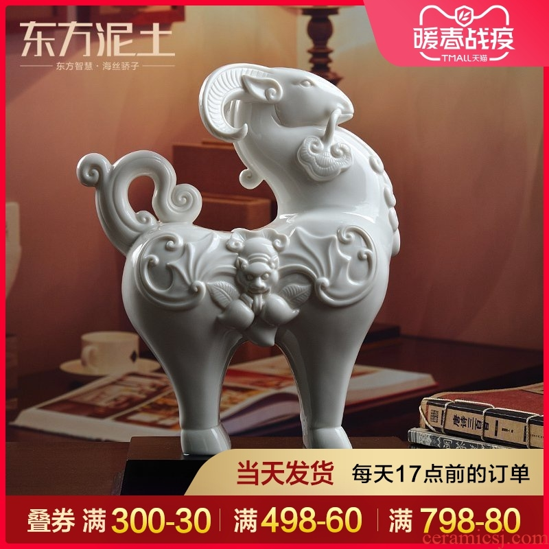 Oriental soil dehua white porcelain ceramic sheep furnishing articles home sitting room adornment business gift/three Yang kaitai