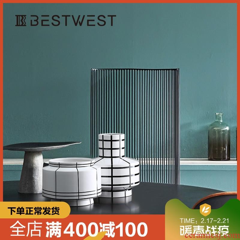 BEST WEST designer ceramic creative furnishing articles of new Chinese style living room decoration vase vase, light and decoration
