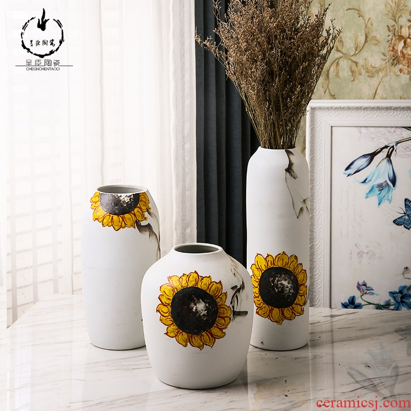 Modern European contracted sitting room place dry flower vases, flower arrangement home decoration of jingdezhen ceramic vases, small ornament
