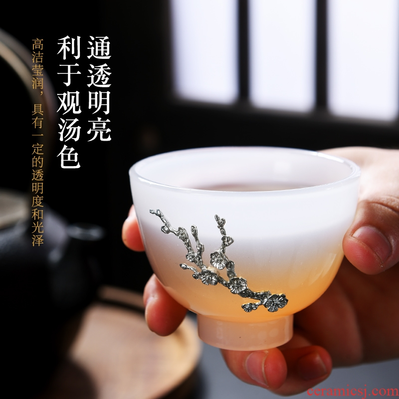 Jade porcelain cup with silver master cup single CPU manually kung fu tea set household white porcelain cup sample tea cup noggin individuals