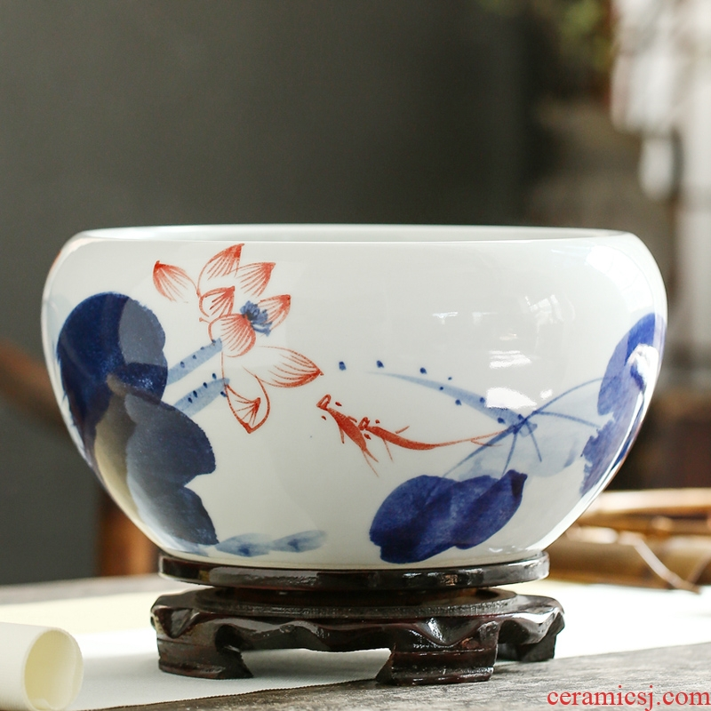 Jingdezhen ceramics furnishing articles snow cuhk aquarium water shallow refers to basin water lily tortoise cylinder storage cylinder porcelain