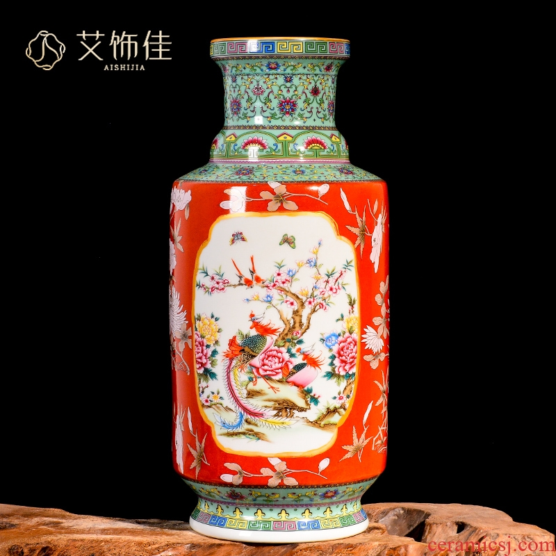 Jingdezhen ceramic antique qianlong vase furnishing articles TV ark, colored enamel flower arrangement in the sitting room porch home decoration