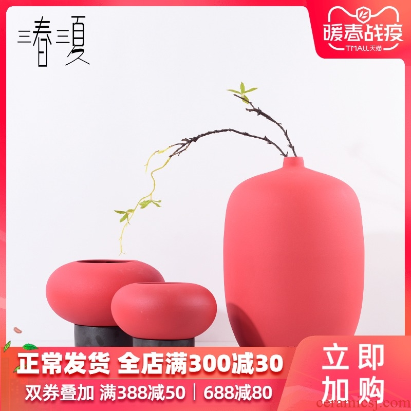 New Chinese style red ceramic round vase furnishing articles mesa of I and contracted sitting room porch tea table flower arrangement