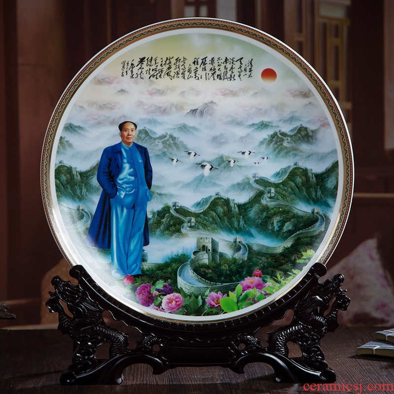 35 cm hang dish of jingdezhen ceramics decoration plate furnishing articles TV cabinet modern classical Chinese style of the sitting room porch