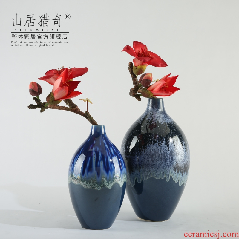 Variable blue porcelain vase furnishing articles creative fashion living room table dry flower, flower implement small expressions using round bottle arranging flowers