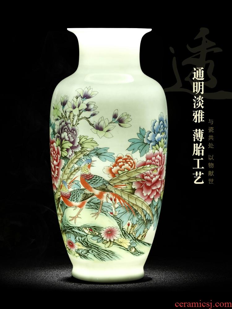 Jingdezhen ceramic vases, Chinese style household living room TV cabinet dry vase floret bottle decoration handicraft furnishing articles