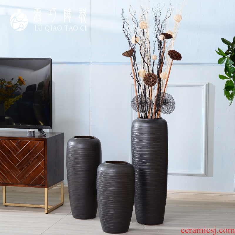 Black ceramic big vase Nordic contracted ins dried flowers decorative furnishing articles individuality creative light key-2 luxury ground wind flowers
