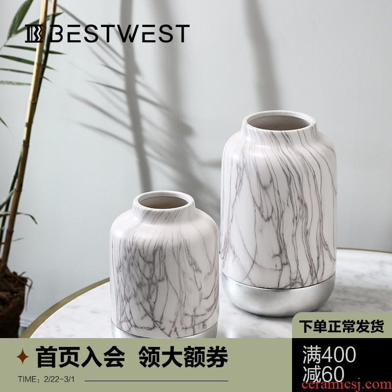 BEST WEST of new Chinese style ceramic vase furnishing articles creative splicing dry flower vases, light porcelain decoration key-2 luxury