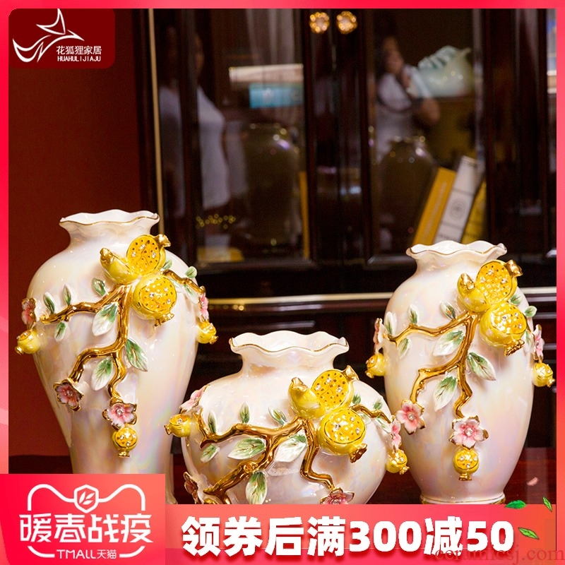 European high - end vase suit creative home furnishing articles of the sitting room TV ark, wine ceramic decoration decoration move