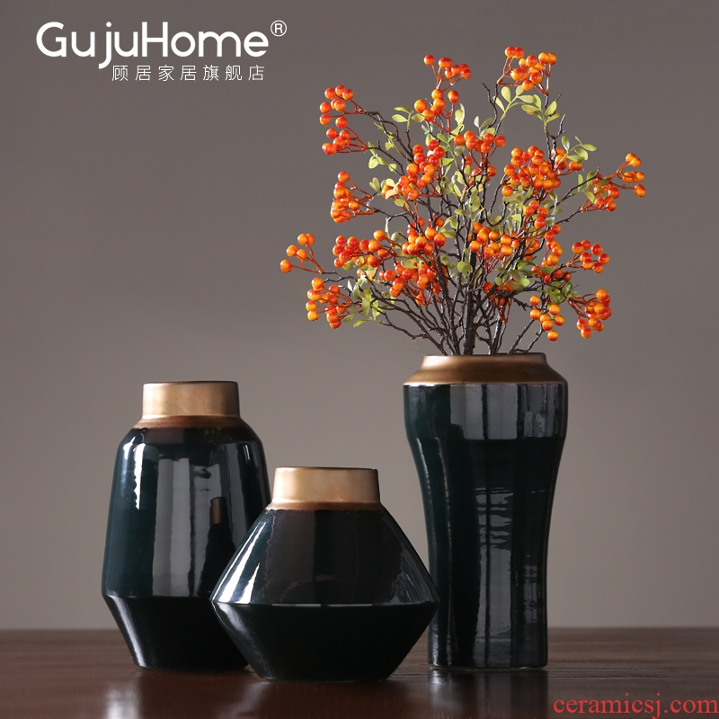 Contracted American light key-2 luxury furnishing articles home decoration ceramic vase inserted between dry flower, flower implement porch example soft outfit