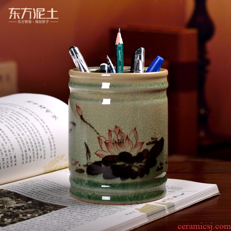 Oriental soil creative hand - made ceramic brush pot Chinese office desktop furnishing articles study the elder customized gifts