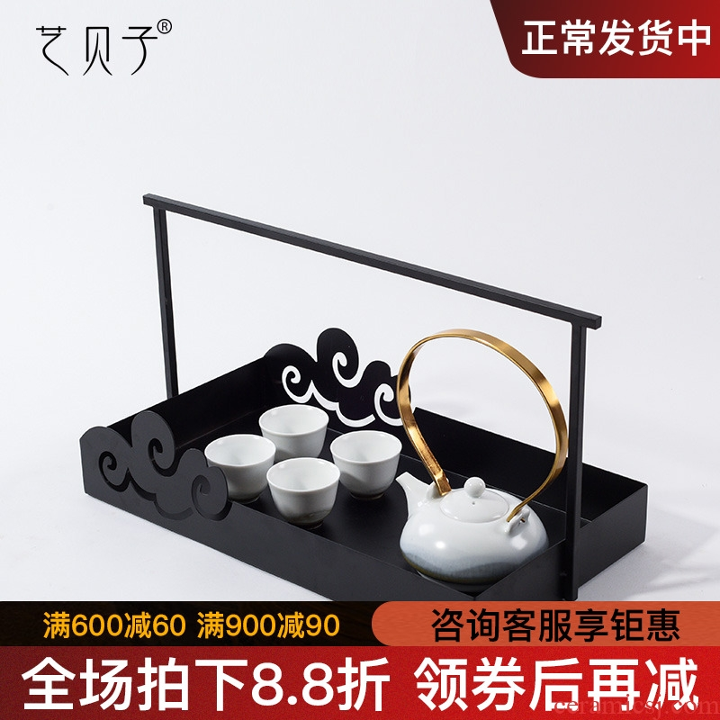 New Chinese style example room tea house furnishing articles sitting room tea table set decoration metal DiHe soft outfit ceramic tea set combination