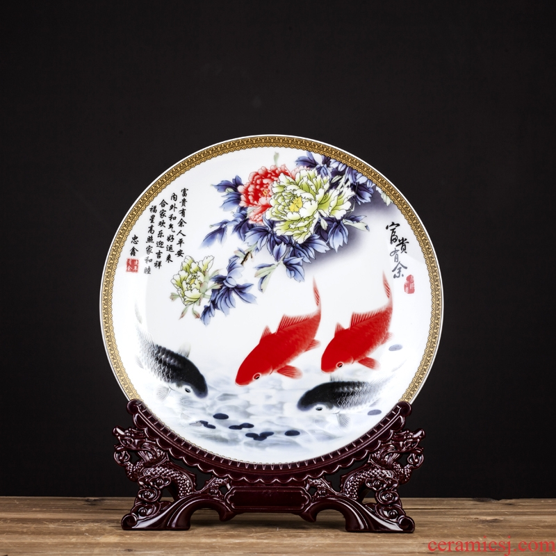 Rice lu, jingdezhen ceramic Chinese style decoration hanging dish furnishing articles or fish home sitting room ark adornment with a silver spoon in its ehrs expressions using
