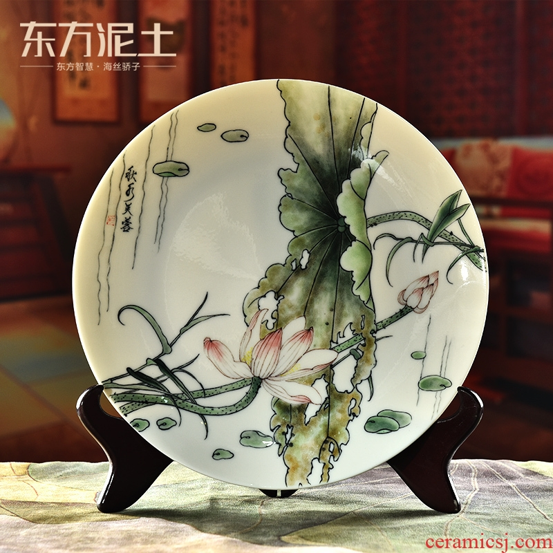 Oriental clay ceramic hand - made hang dish Chinese style living room partition TV cabinet version into the home decoration gifts