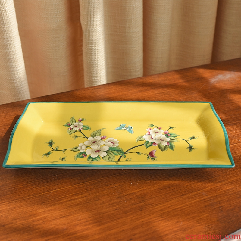New Chinese style restoring ancient ways American ceramic bowl rectangle New seeds dry bowl dish decorative furnishing articles key tray