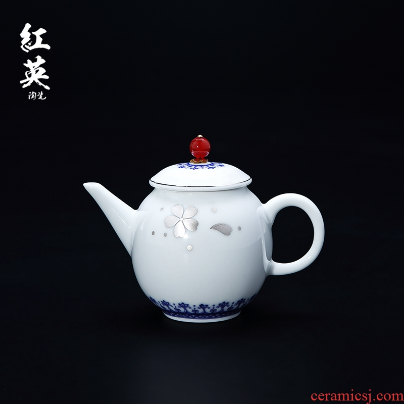 Red the jingdezhen ceramic kung fu tea set suit household teapot tea trace silver contracted single pot of blue and white porcelain