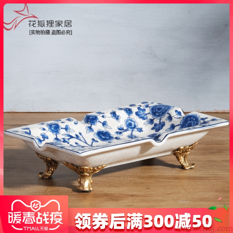 The New Chinese blue and white porcelain with copper decoration small fruit bowl dried fruit candy dish ashtray creative home office
