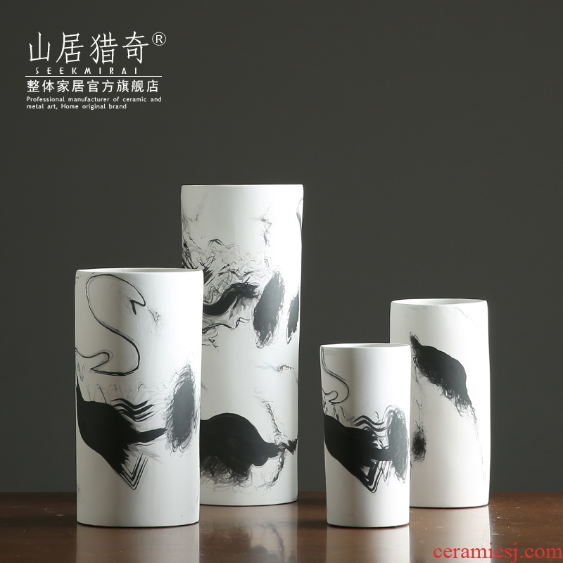 Nordic new Chinese ink painting, ceramic vase straight sitting room dry flower flower arranging flower implement furnishing articles home soft decoration