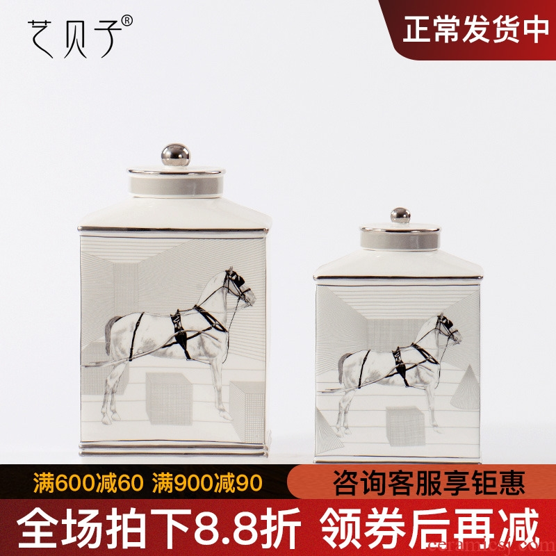 Modern new Chinese style home furnishing articles rich ancient frame storage tank of pottery and porcelain decoration creative light sitting room key-2 luxury soft decoration