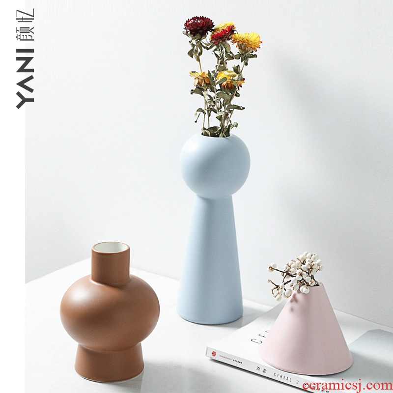 Nordic morandi, ceramic vases, furnishing articles contracted dried flower arranging flowers wine sitting room adornment ins wind flowers