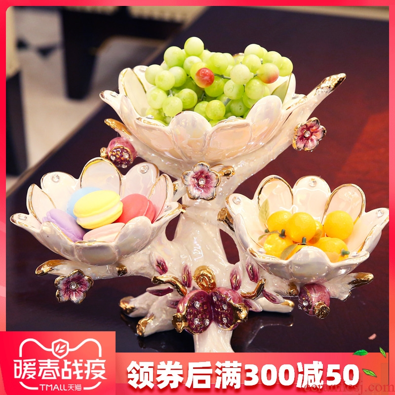 European ceramic creative dry fruit tray, fruit bowls I sitting room tea table three tray was furnishing articles wedding gift