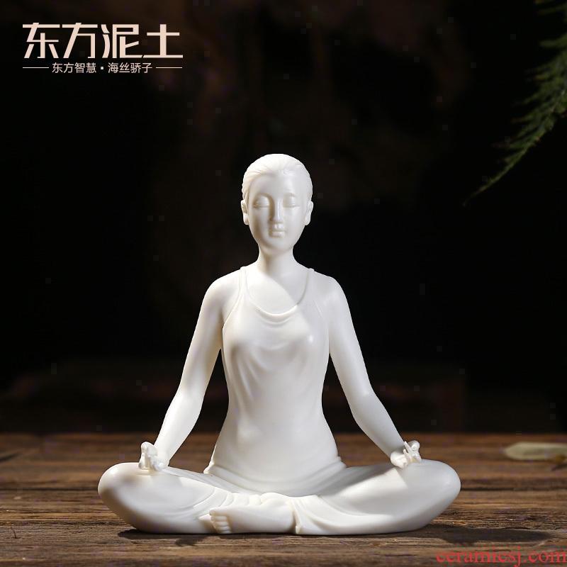 Oriental furnishing articles dehua white porcelain clay ceramic yoga zen style wine sitting room decoration